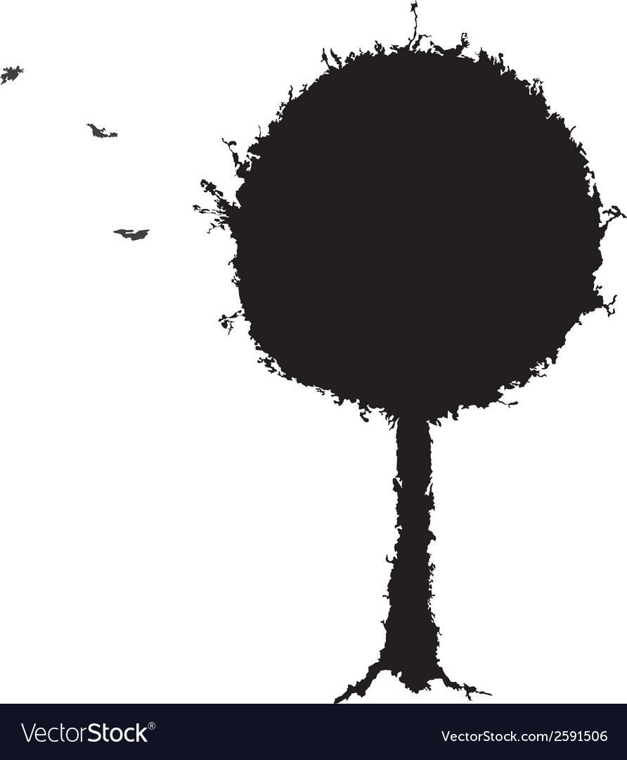 Black tree grunge silhouette vector