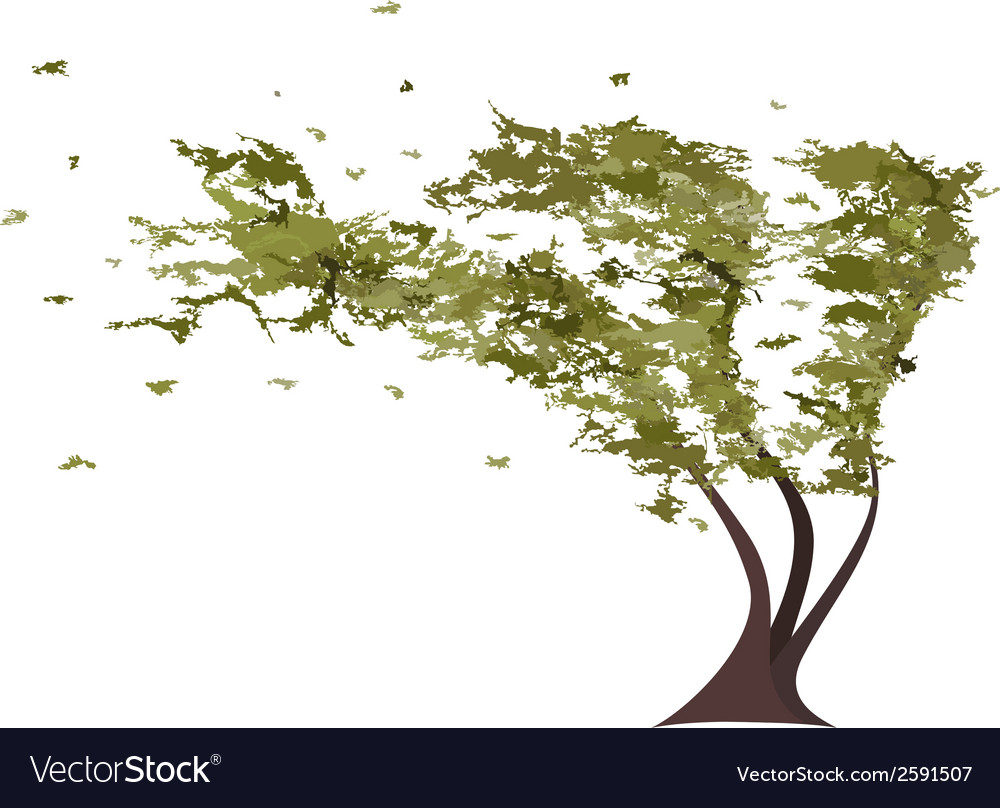 Grunge tree in the wind vector