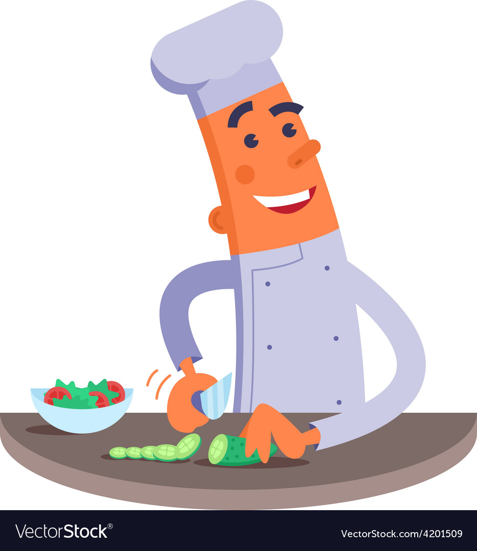 Cartoon chef cuts the vegetables for salad vector