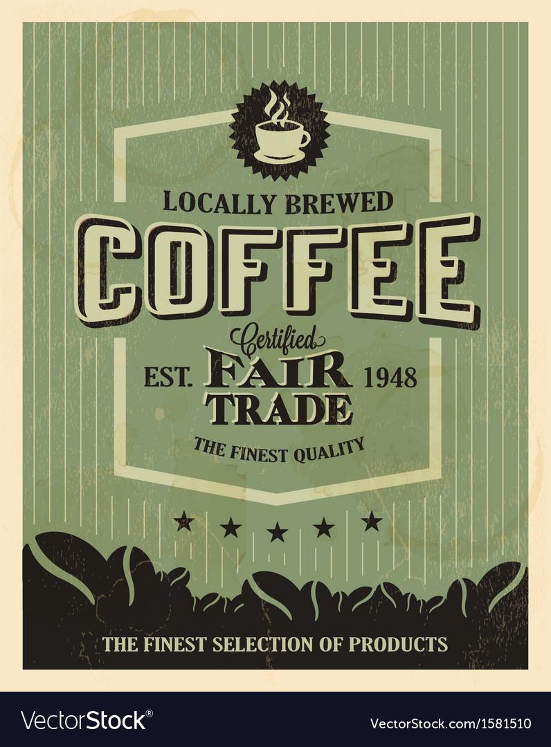 Retro vintage coffee background with typography vector