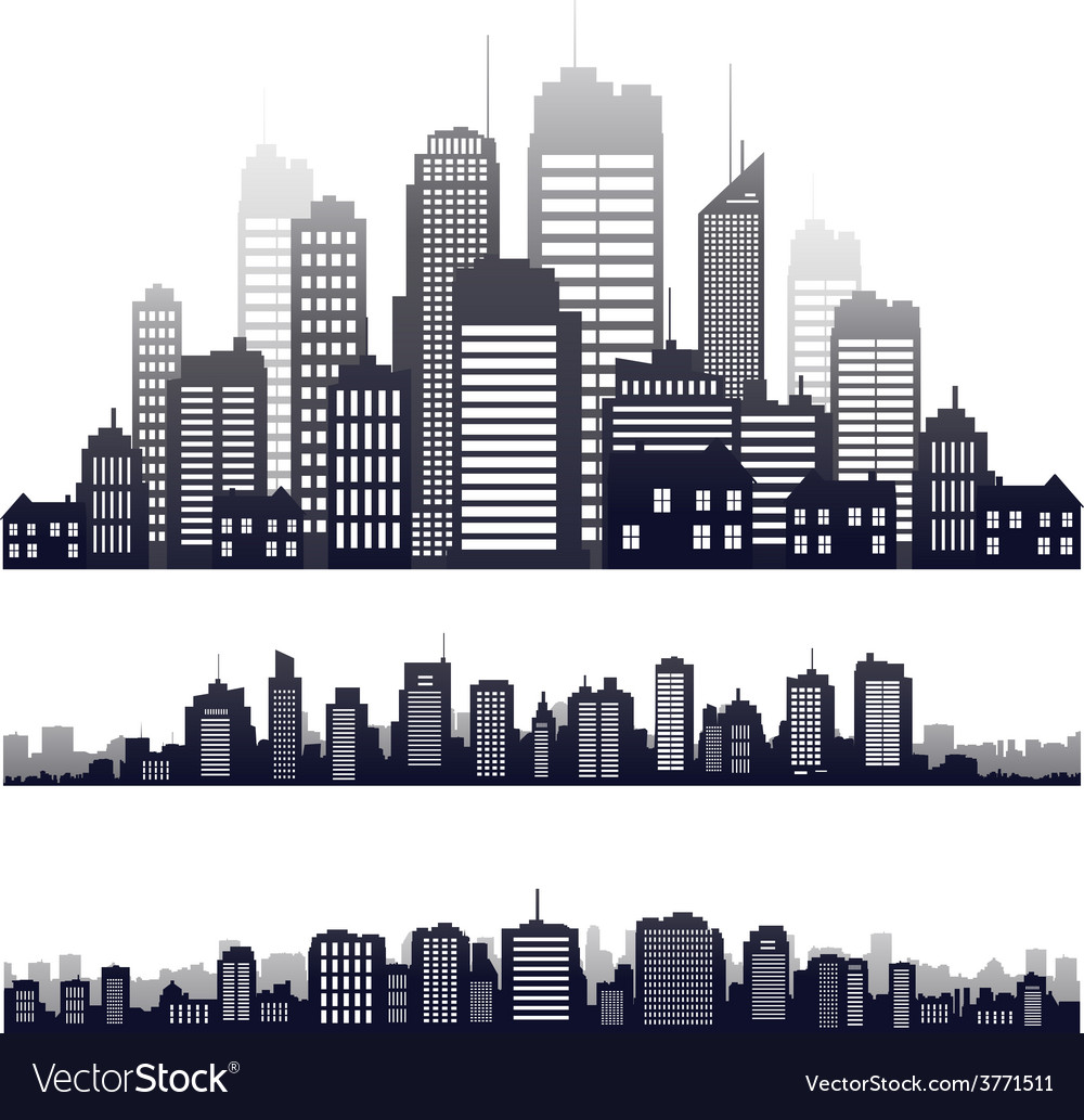 City silhouette isolated on white vector