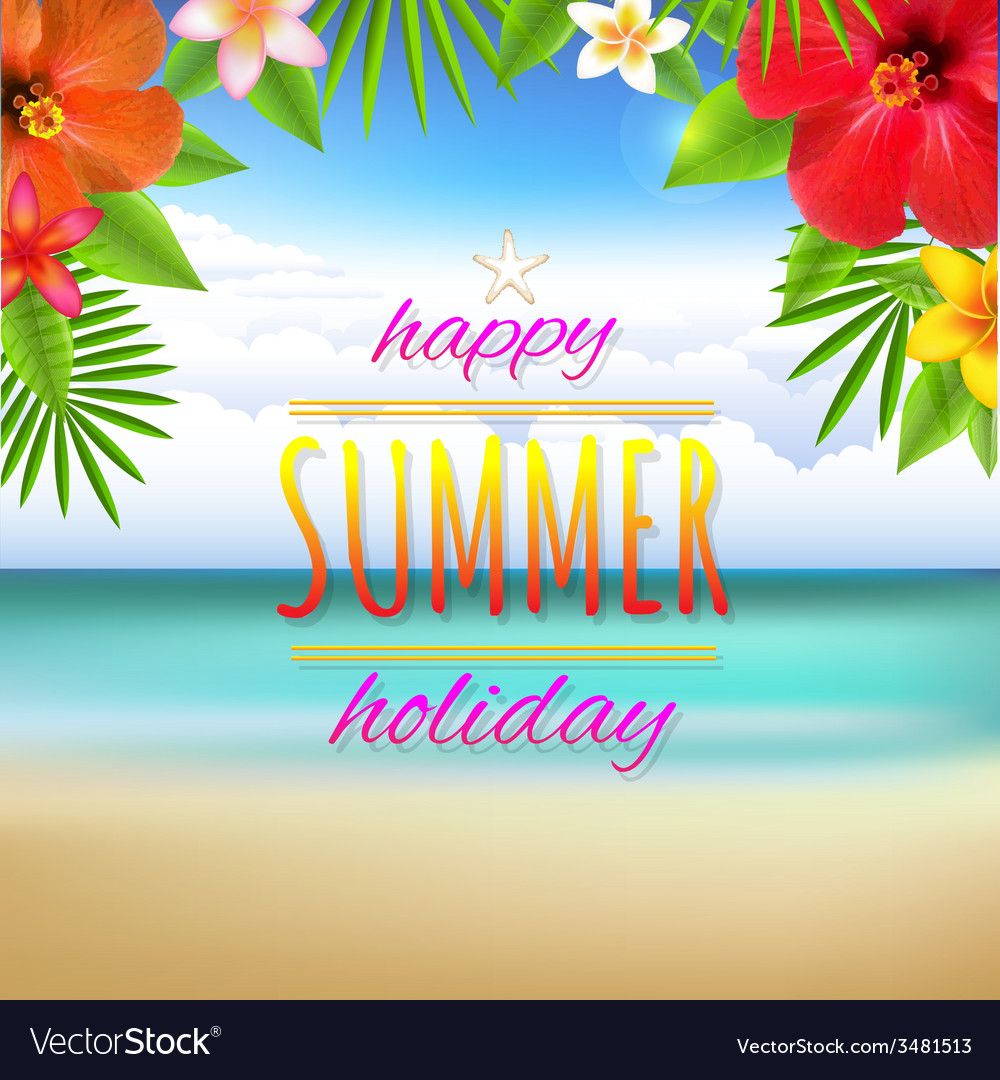 Beach landscape card vector