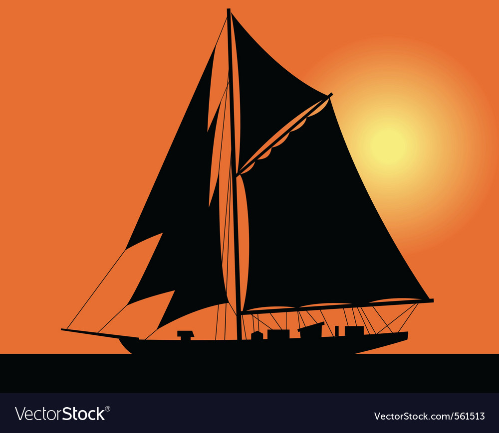 Yacht silhouette vector