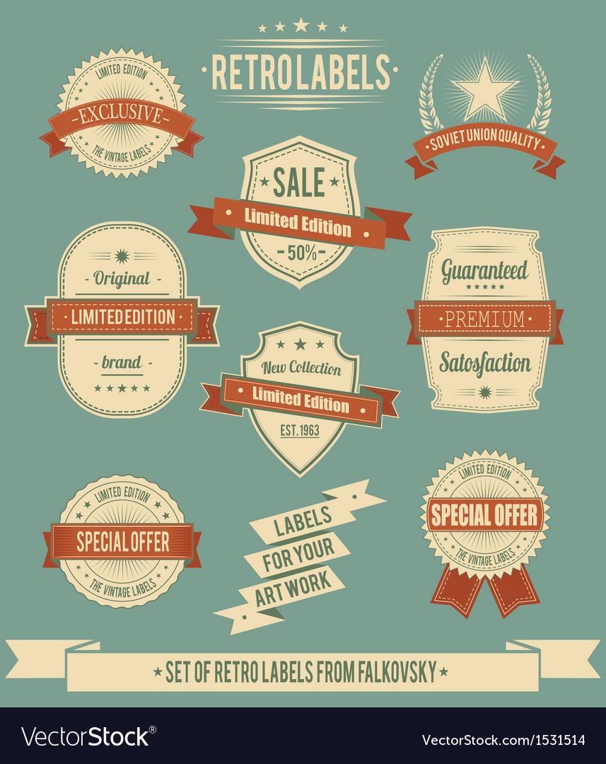 Set of vintage retro labels calligraphic elements vector