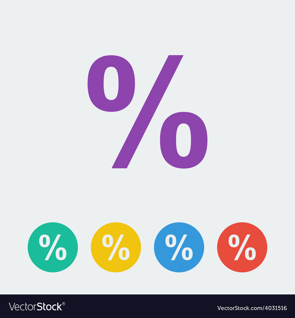 Percent flat circle icon vector