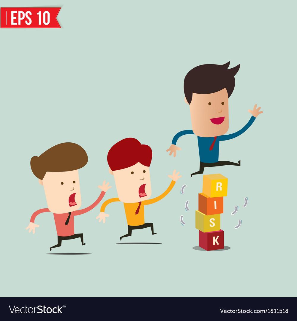 Businessman jump over risk block - - eps10 vector