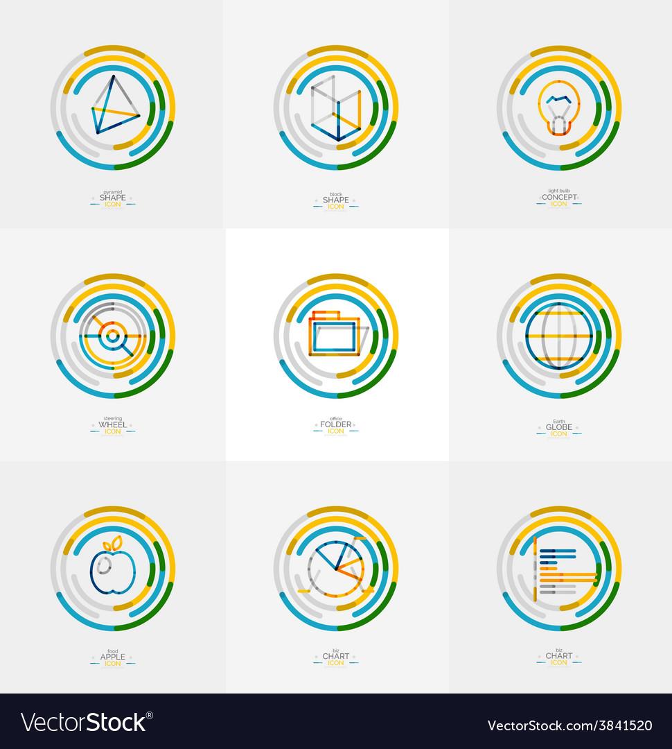 Minimal thin line design web icon set vector