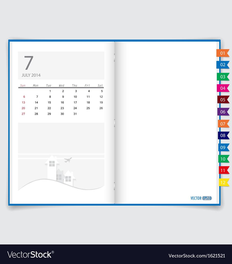 2014 calendar on notebook paper july vector