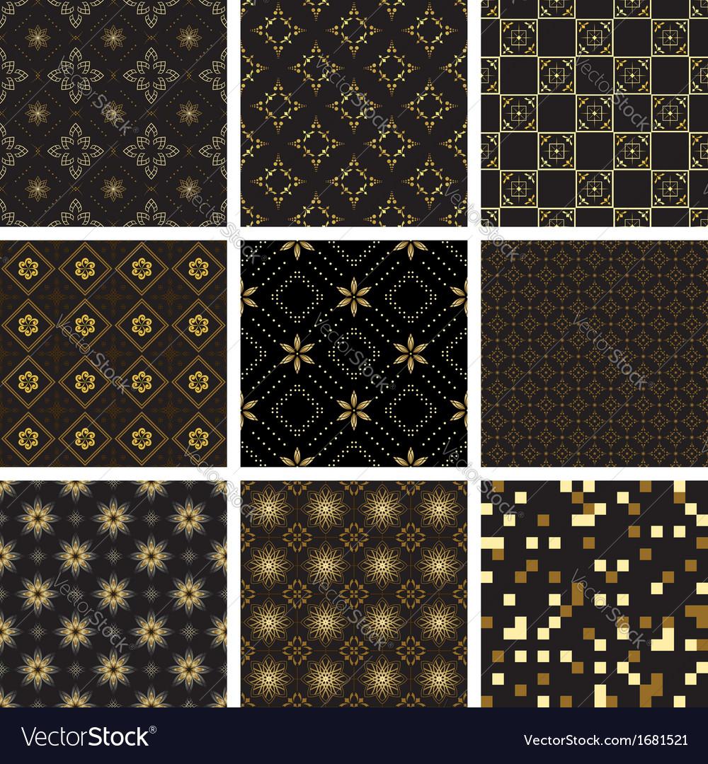 Set of black geometric seamless textures vector