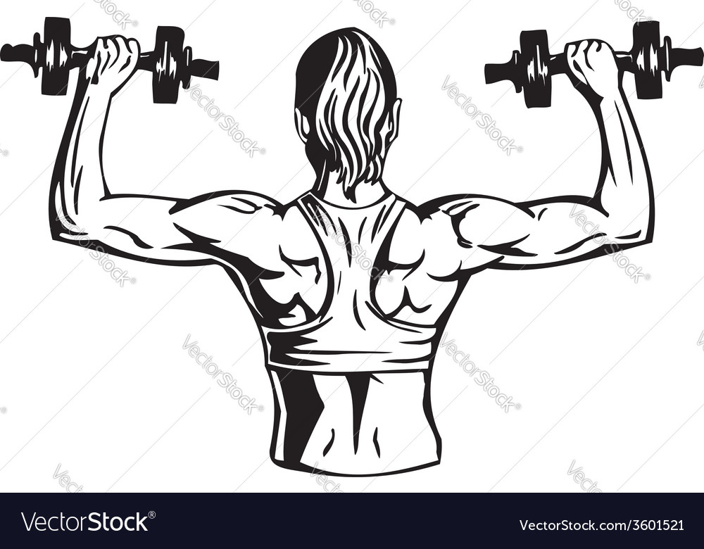 Woman with dumbbells - fitness vector
