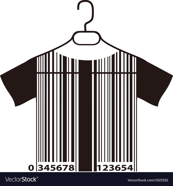 Barcode t-shirt on cloth hanger vector
