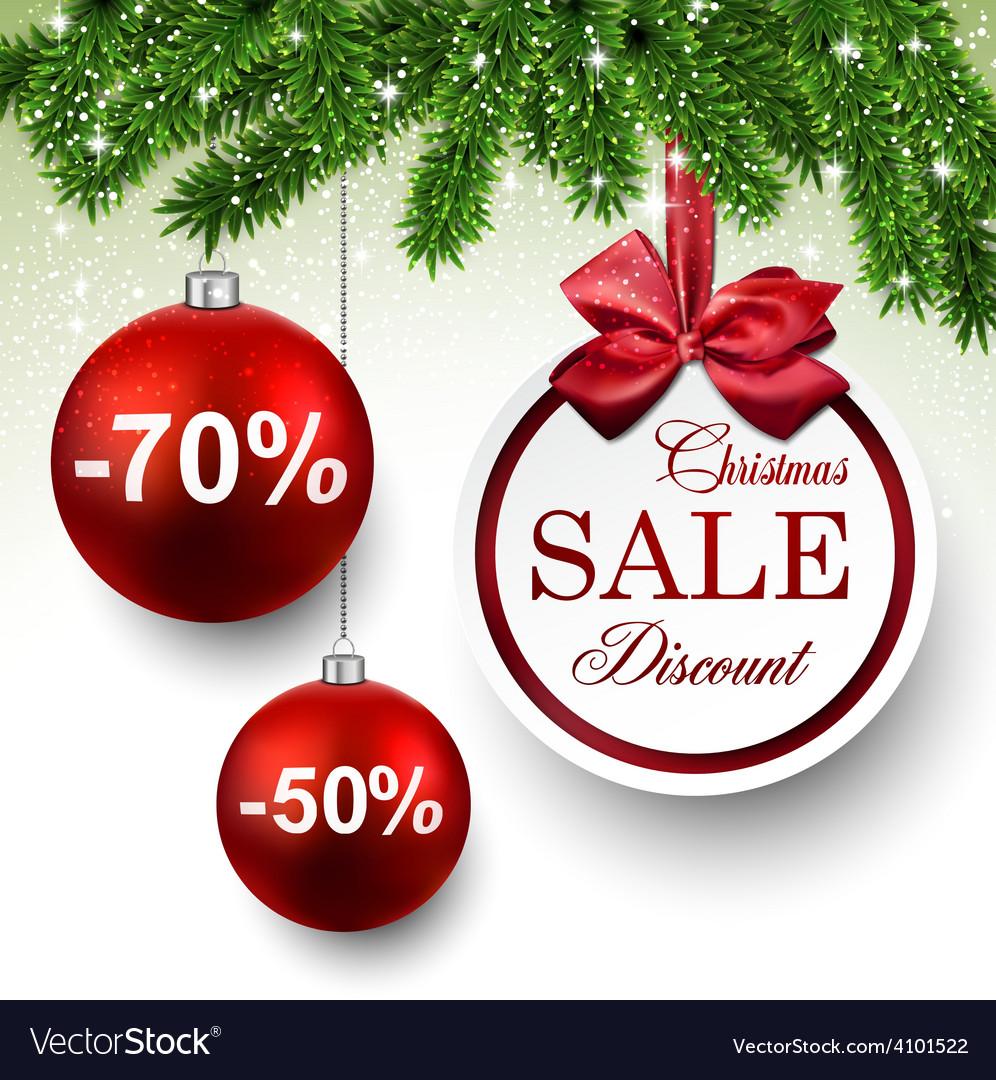 Sale round christmas balls vector