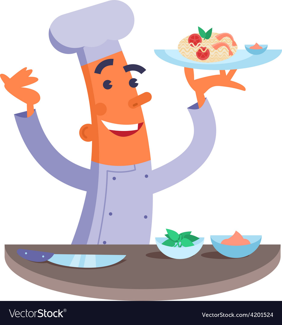 Cartoon chef holding plate with pasta and shrimps vector