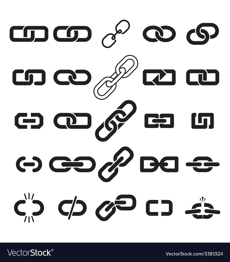 Set of link icons vector