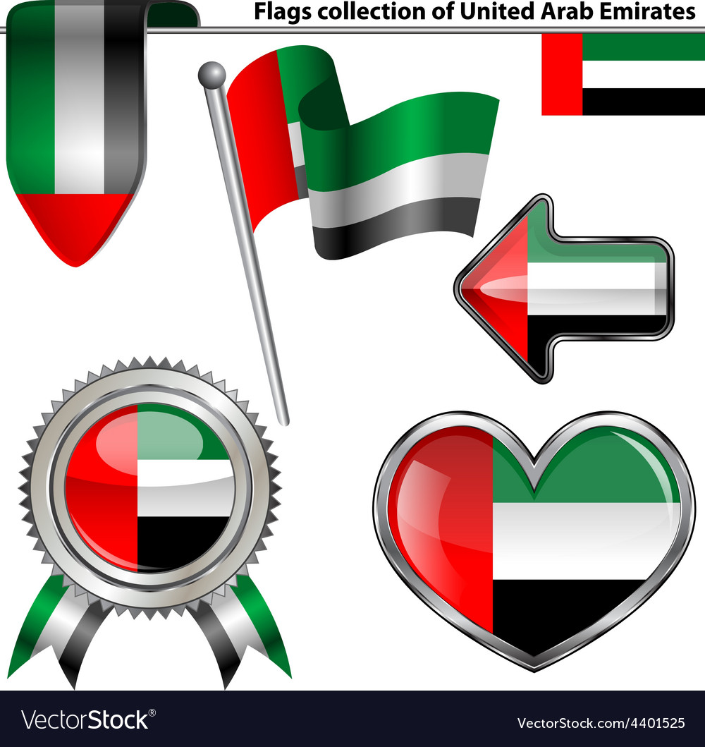 Glossy icons with united arab emirates flag vector