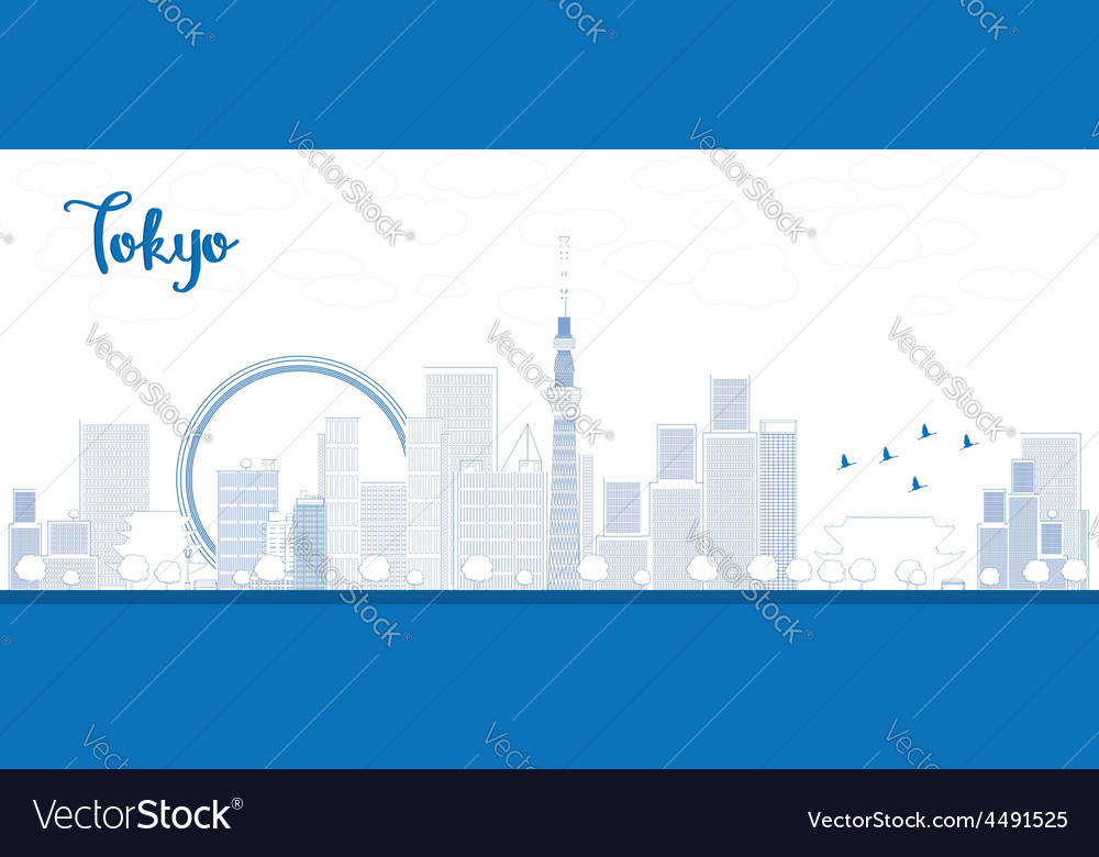 Outline tokyo skyline with skyscrapers vector