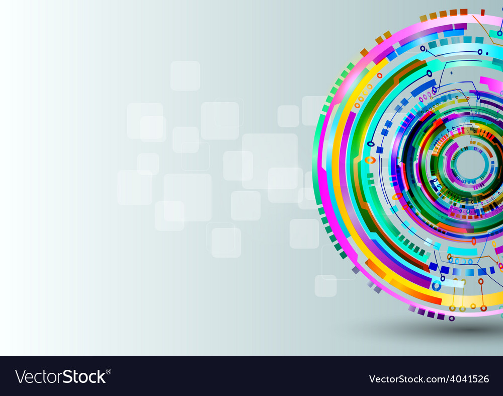 Abstract colorful technology circles background vector