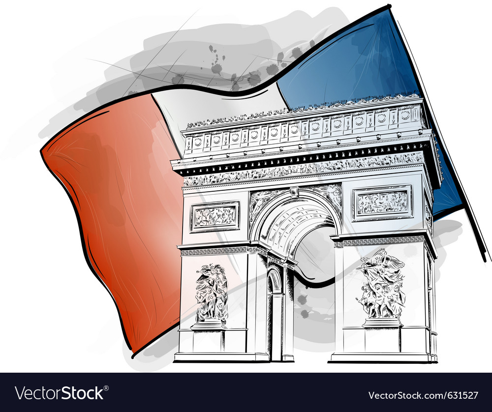 Arch of triumph on the flag vector