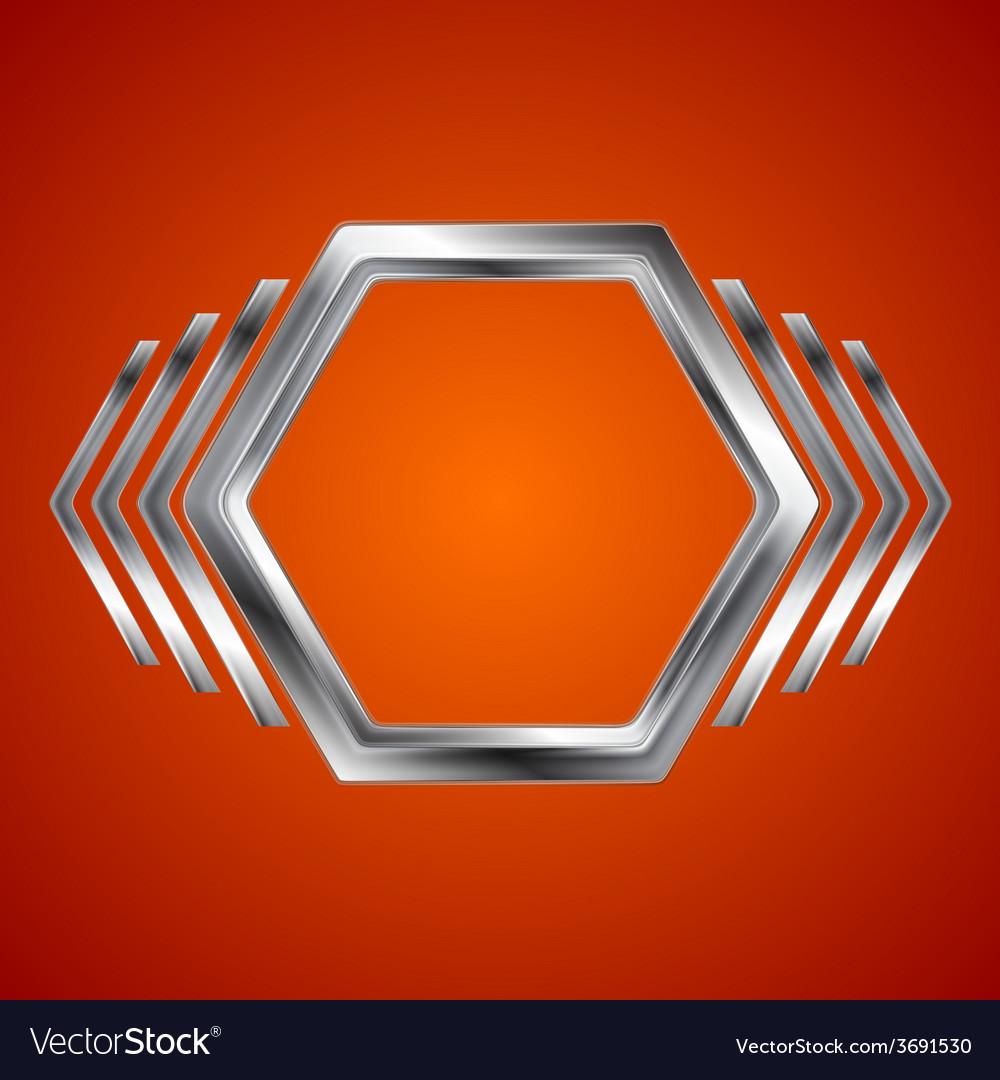 Abstract metal hexagon and arrows shape vector
