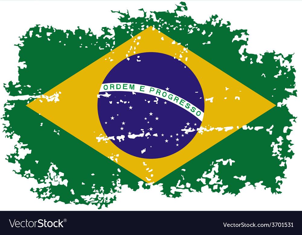 Brazilian grunge flag vector