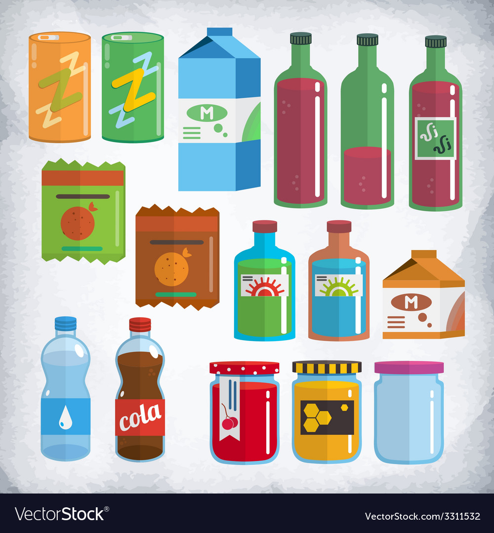 Bottles and packing kit vector