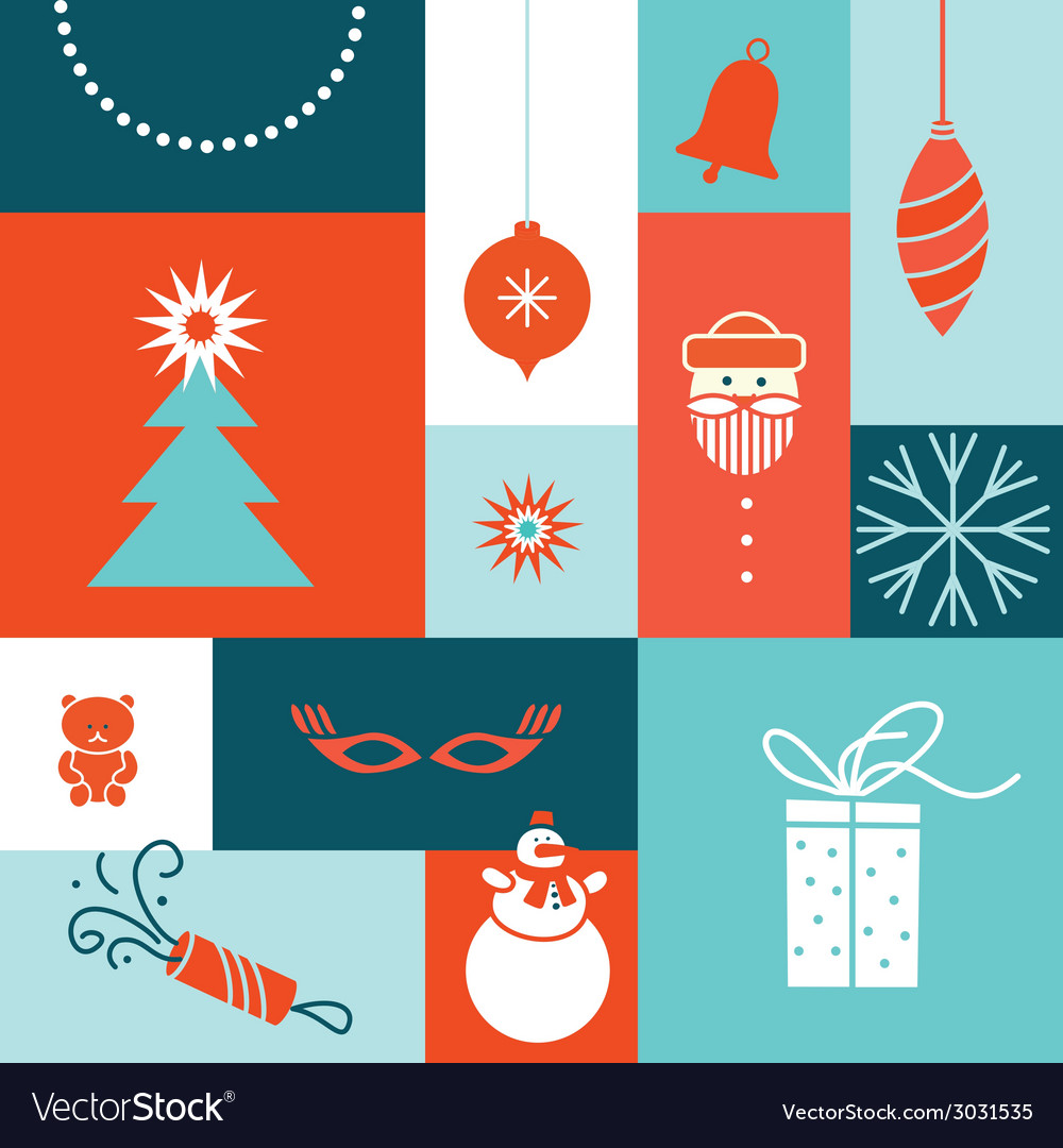 Merry christmas tree post card vector