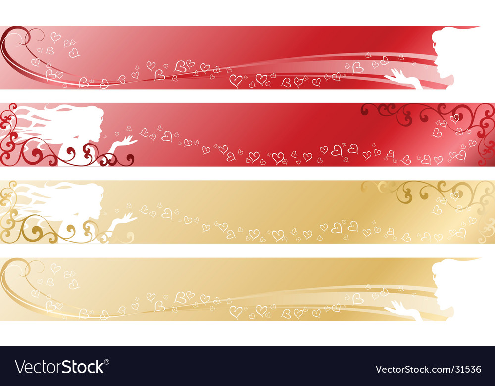 Love themed banners vector