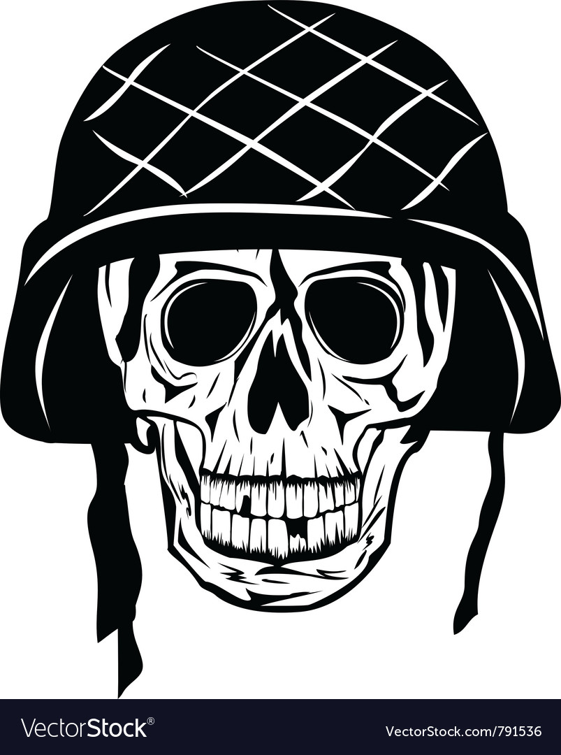 Skull in an army helmet vector