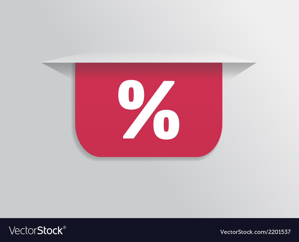Bookmark sticker label tag with symbol percent vector