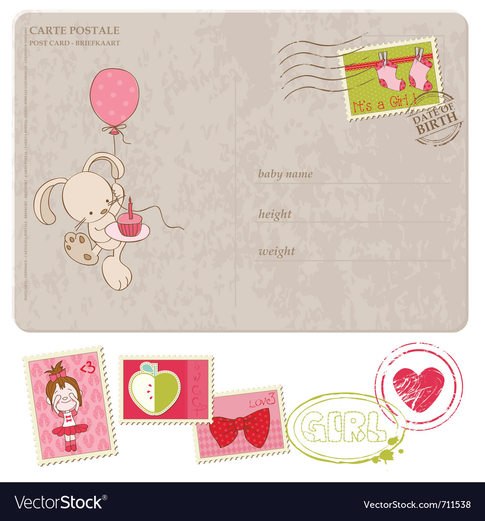 Baby girl greeting postcard with set of stamps vector