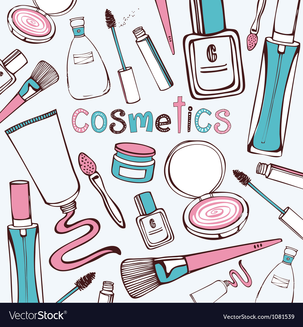 Beauty cosmetics pattern vector