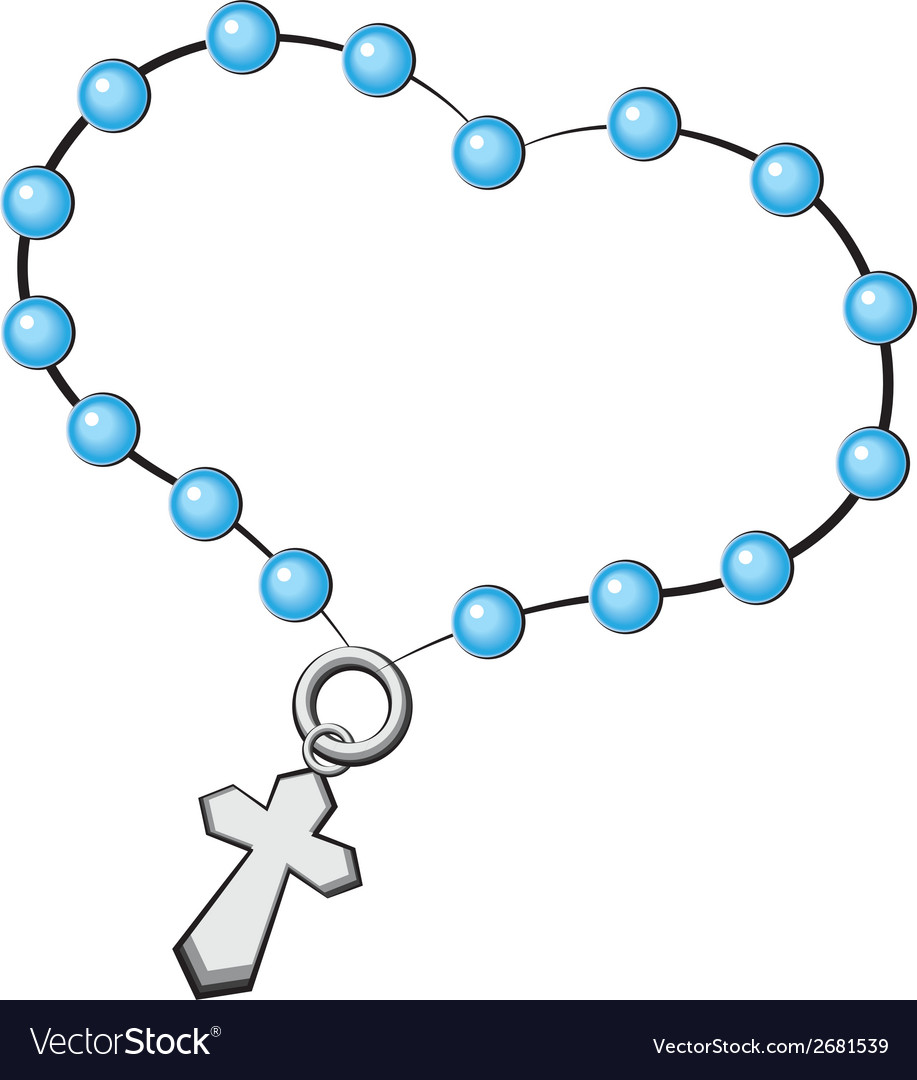 Rosary with a cross icon object on white vector