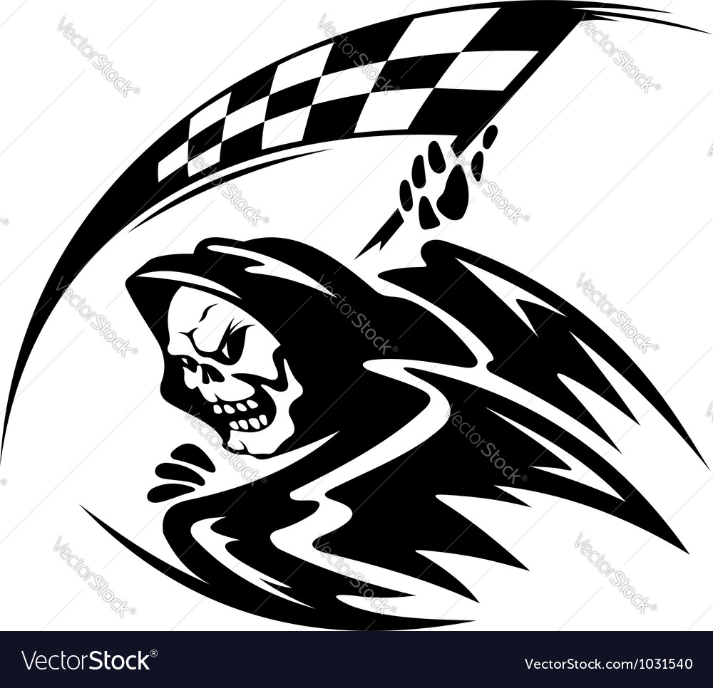 Black danger death demon with ckeckered flag vector