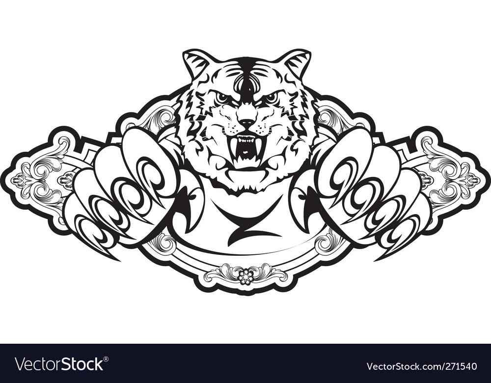Tiger attacks in frame vector