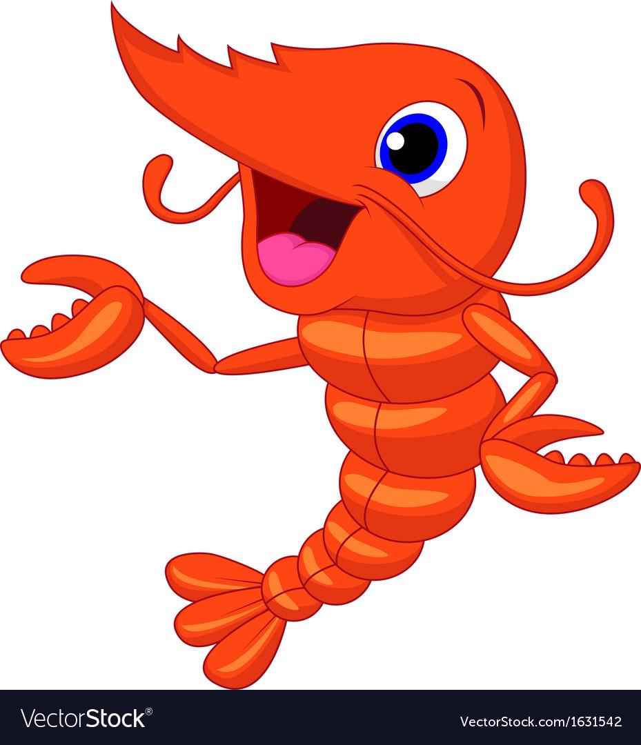 Cute shrimp cartoon presenting vector