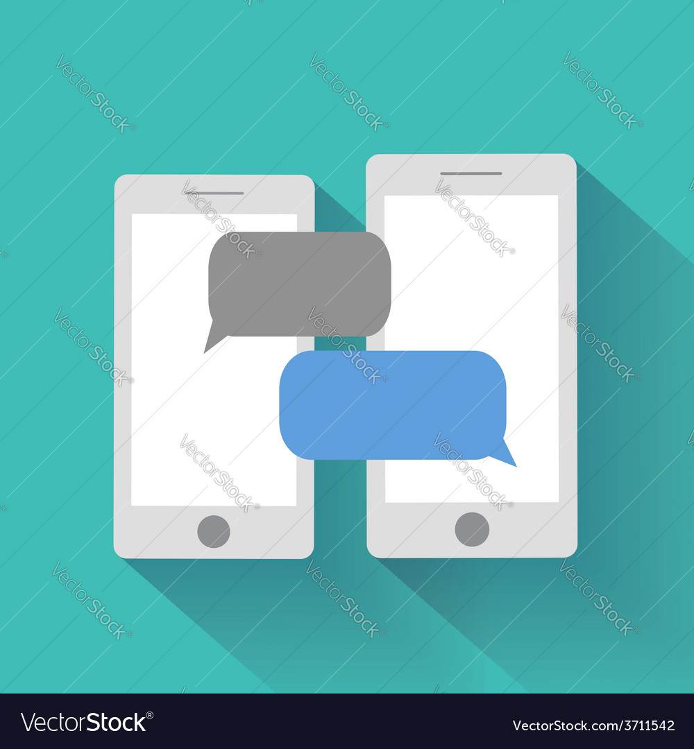 Smartphones with blank speech bubbles vector
