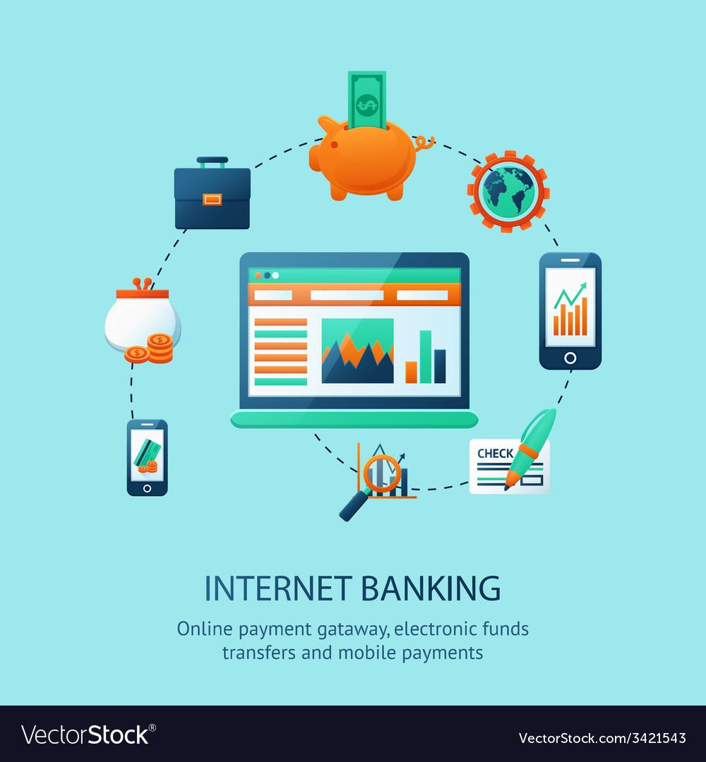 Internet banking poster vector