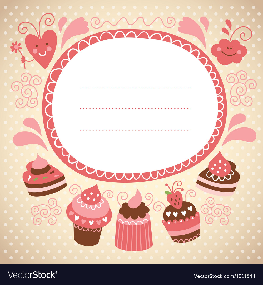 Frame with cute cupcakes vector