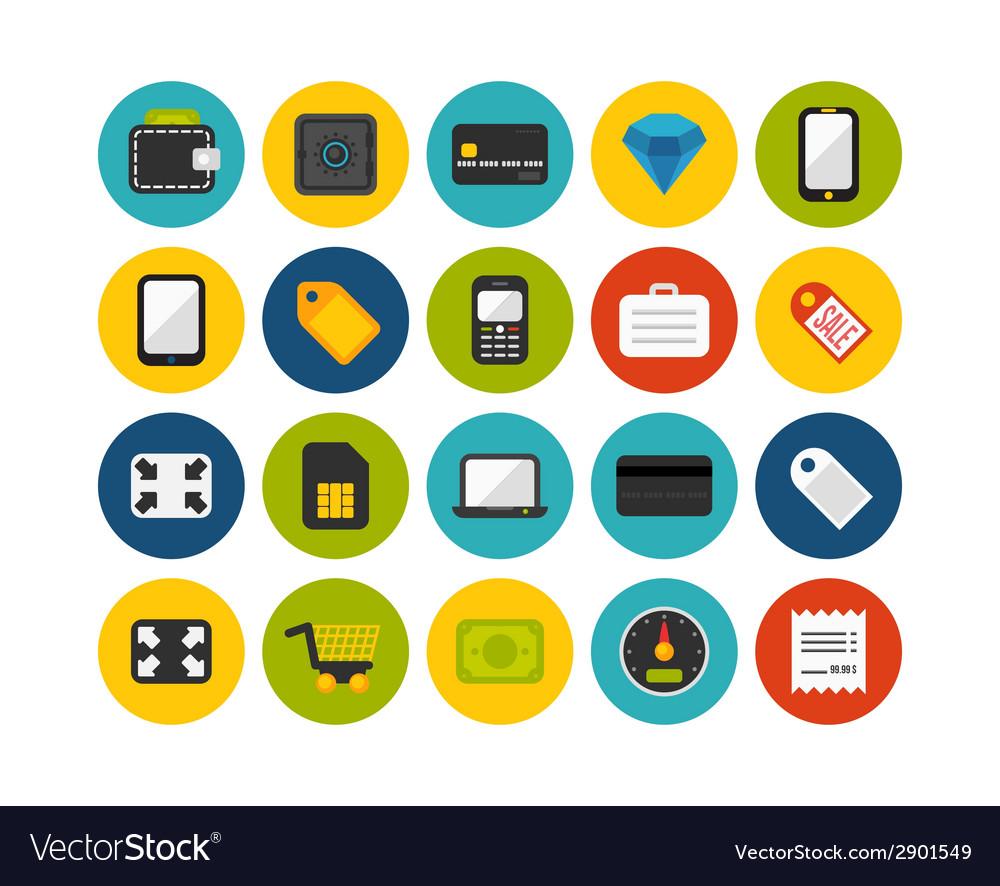 Flat icons set 9 vector