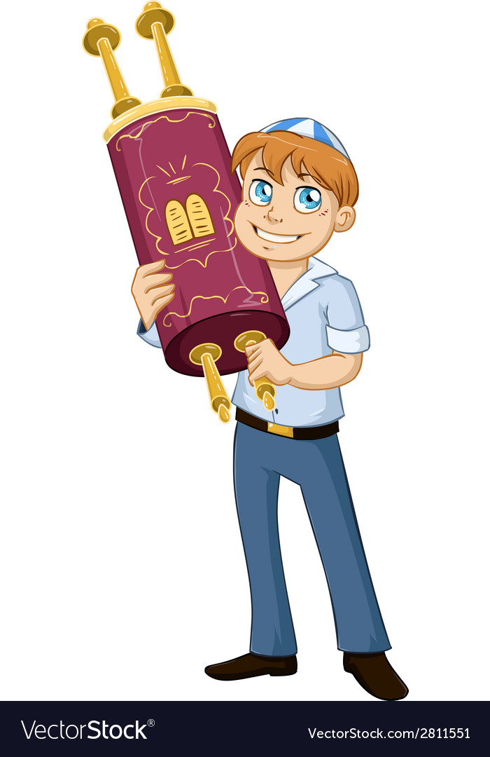 Jewish boy hold torah for bar mitzvah vector