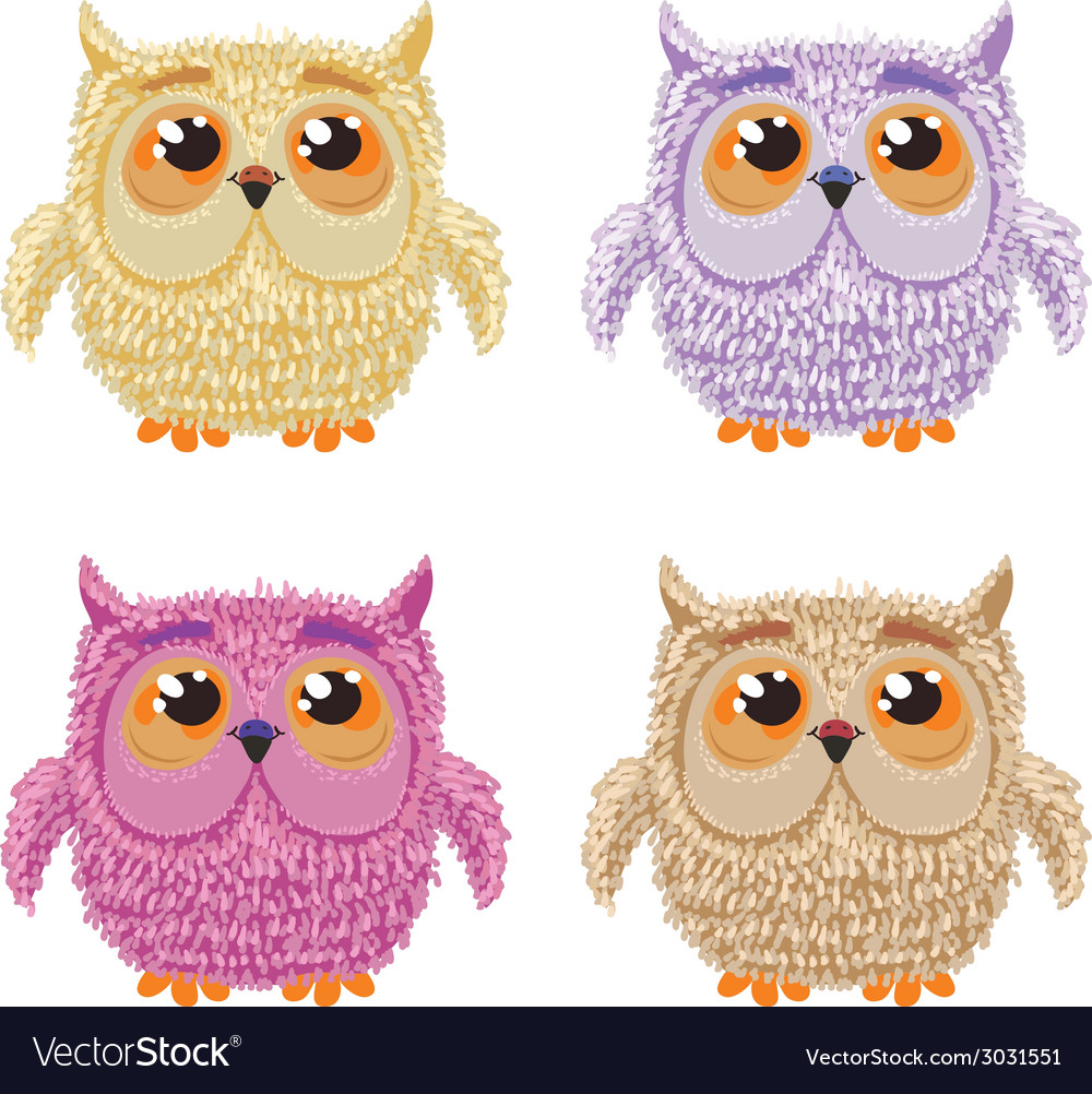 Set of cartoon owls for wisdom or education vector