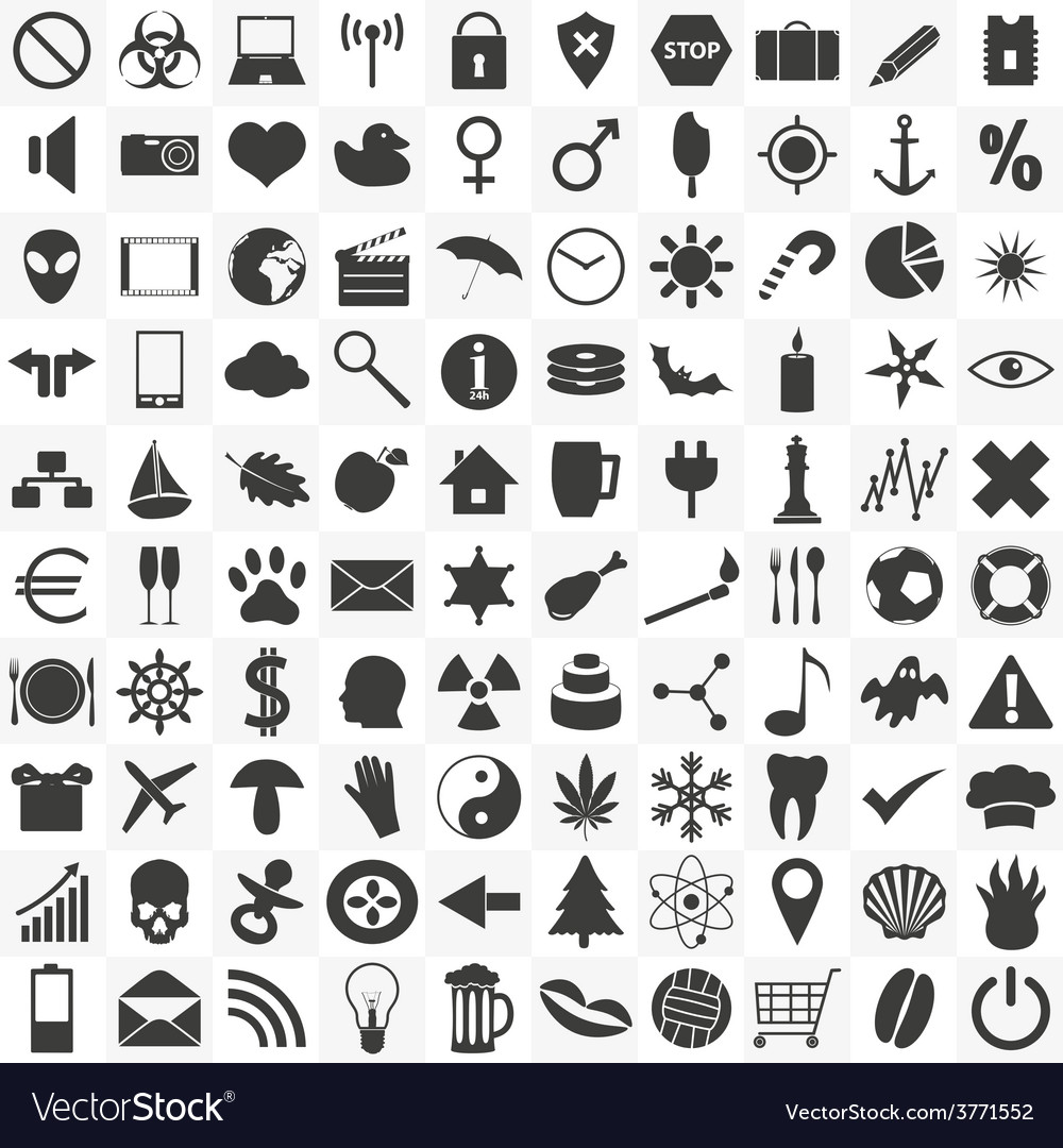 Set of 100 general various icons for your use vector