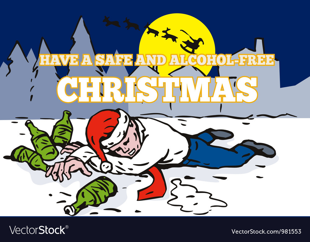 Drunk man wearing santa hat vector