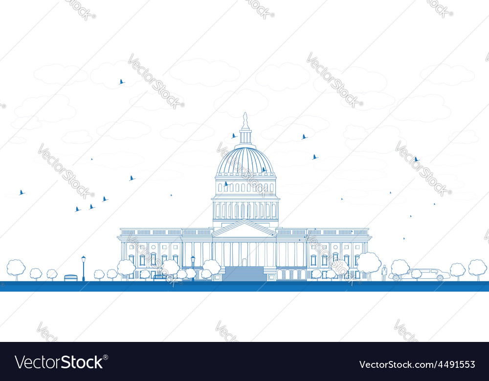 Outline washington dc capitol vector