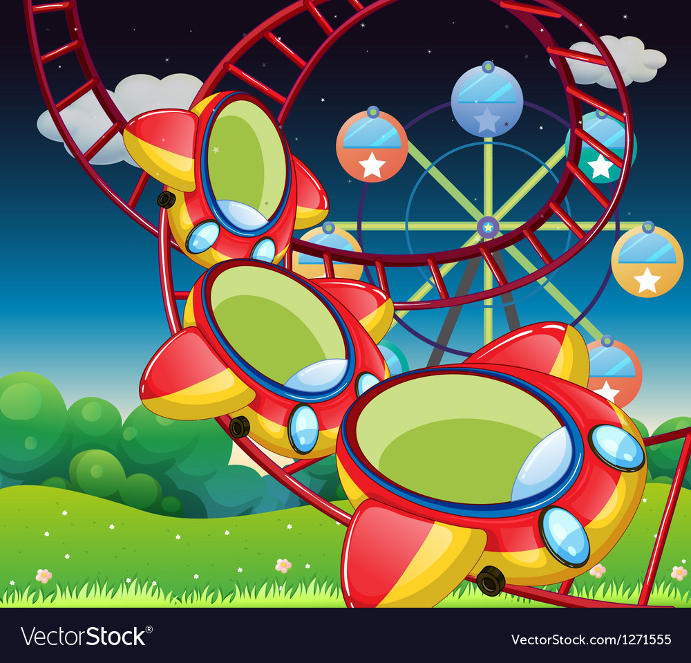 The colorful roller coaster vector