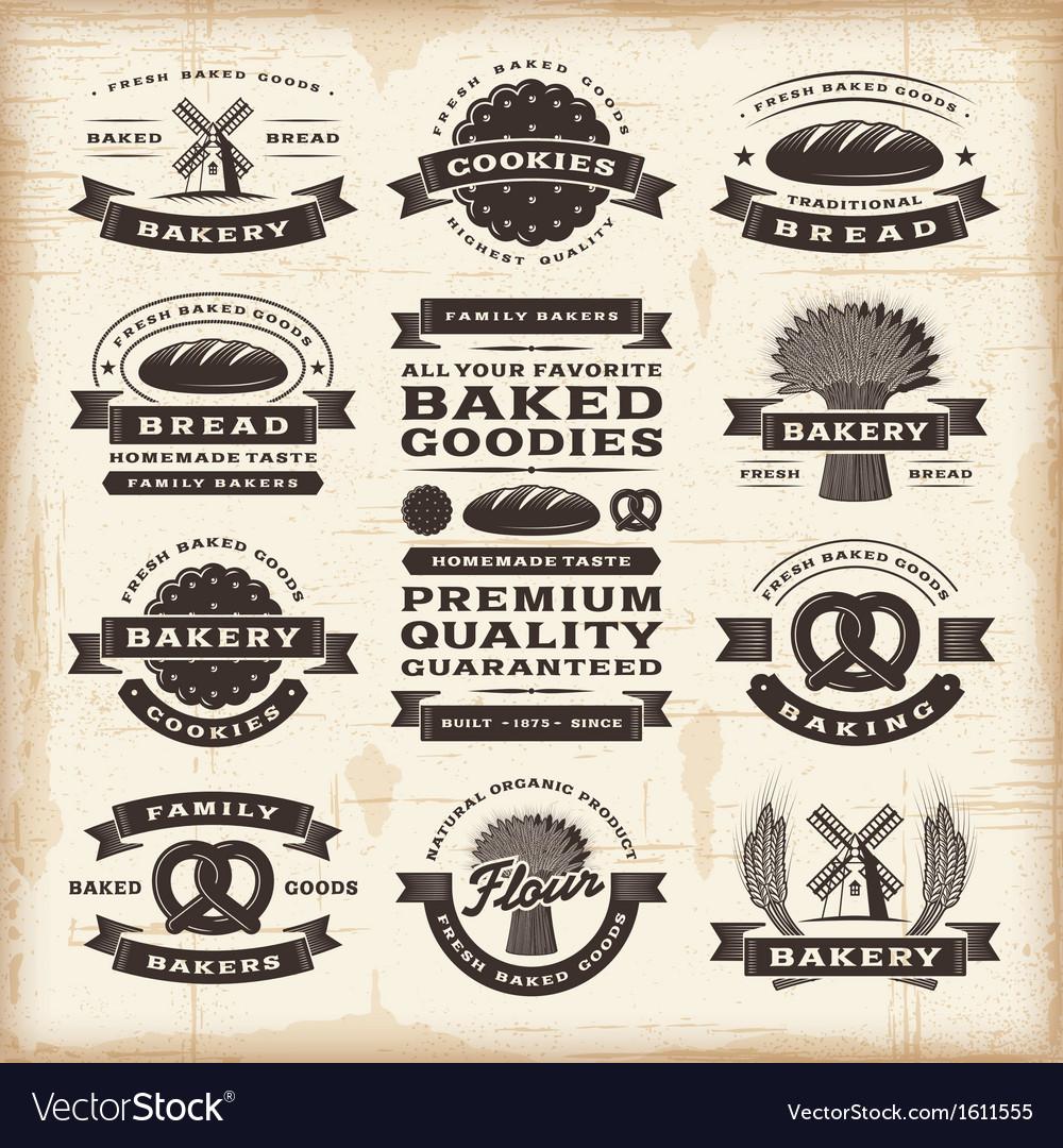 Vintage bakery labels set vector