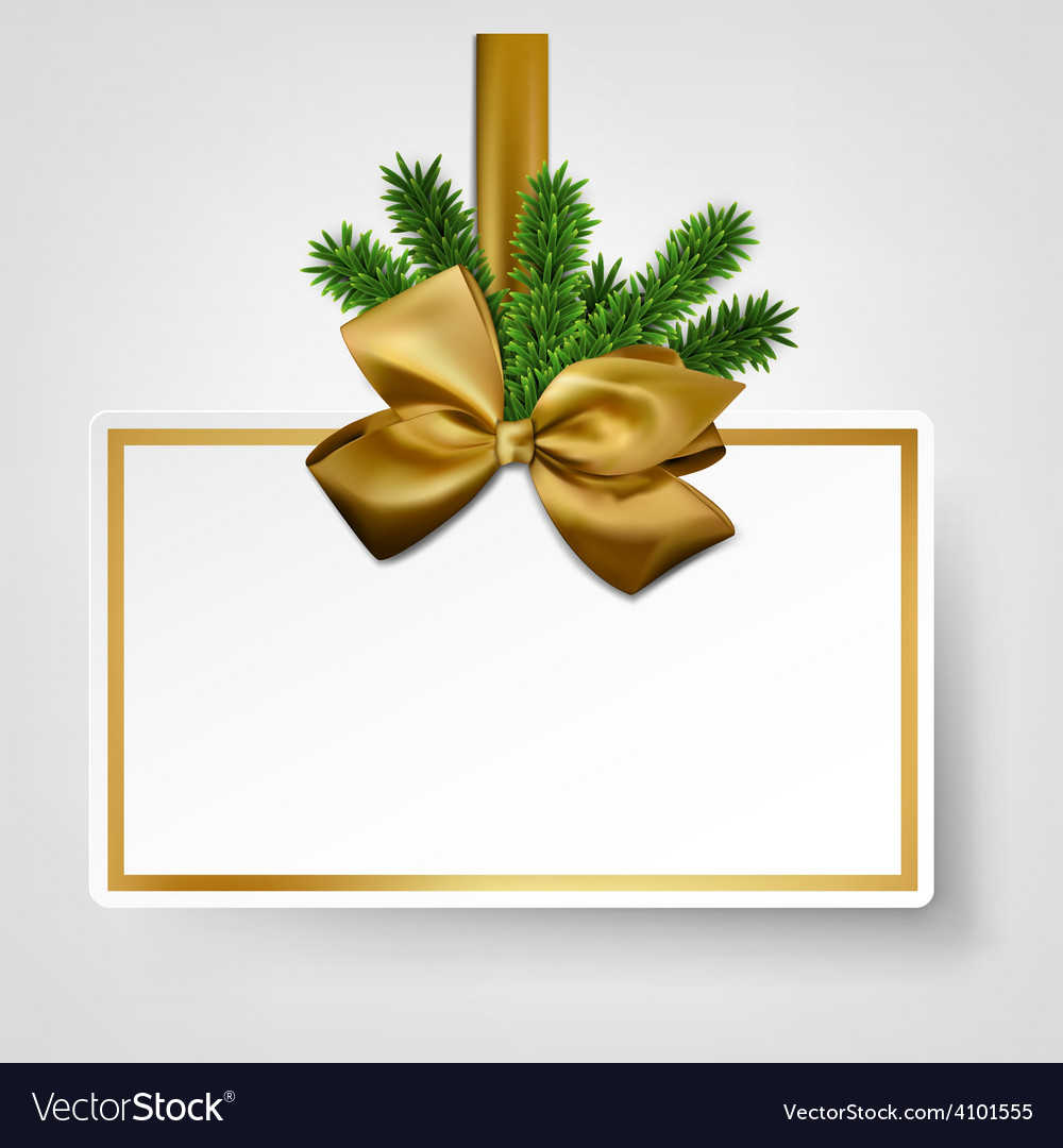 White paper gift card with golden satin bows vector
