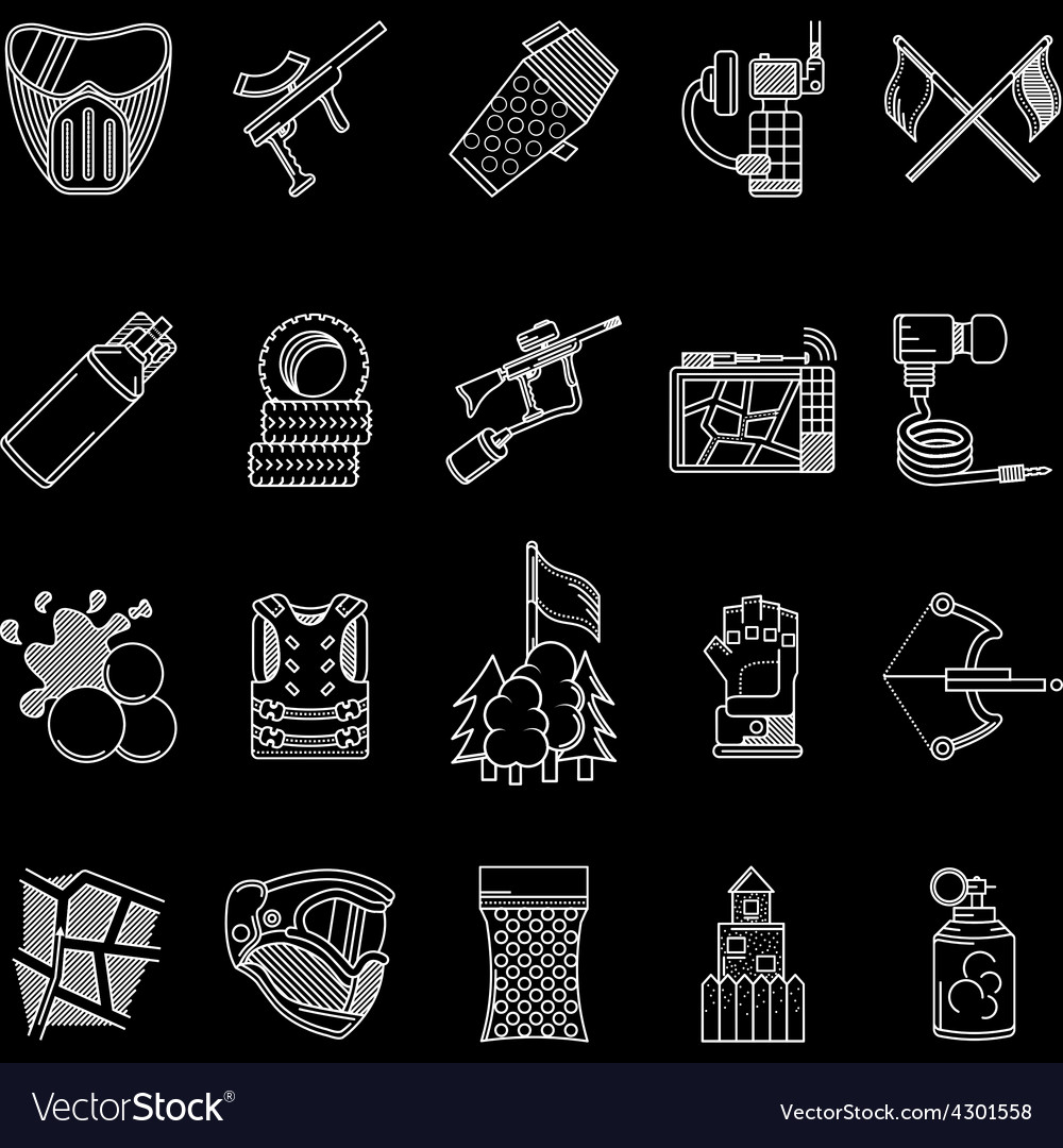 Paintball white line icons collection vector