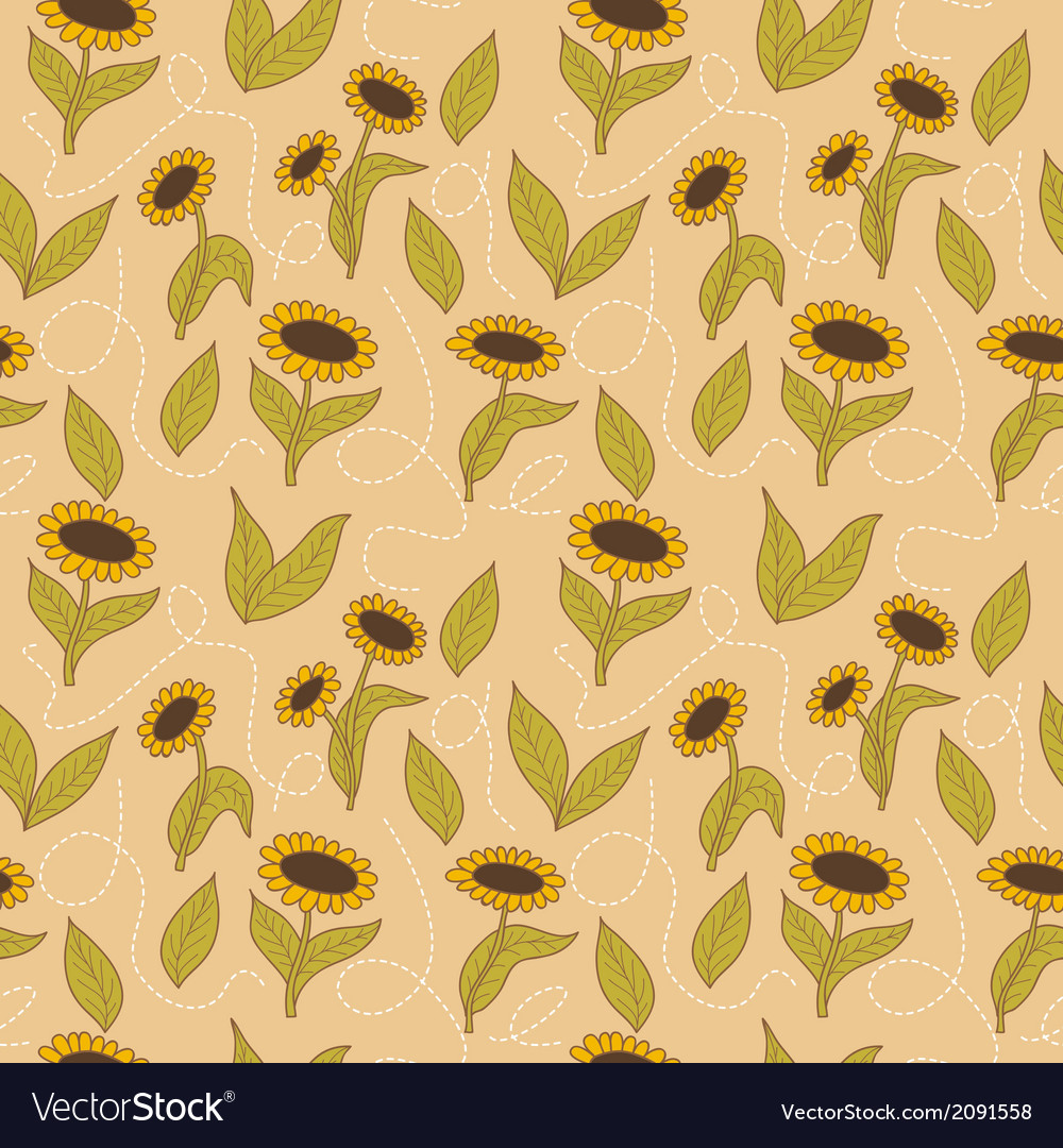 Spring seamless sunflowers background vector