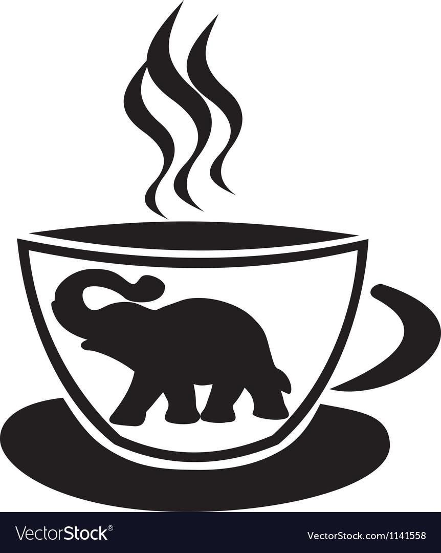 Tea cup with elephant vector